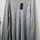 NWT Kim Rogers Size XL Women's Gray Long Knitted Sweater Long Sleeve V-Neck