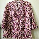 NWT Petites Kim Rogers Size PM 3/4 Sleeve Blouse Y-Neck 100% Linen Pintucks