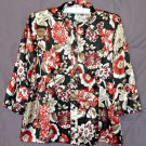 Claudia Richard Women's Size L Black Long Sleeve Blouse  Floral Design Polyester