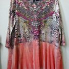NWT New Directions Size M 3/4 Sleeve Blouse Top V-Neck Sequin Allover Print