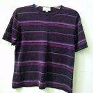 KASPER A.S.L. Size S Women's Knit Short Sleeve Top Striped Multi-Color 100% Silk