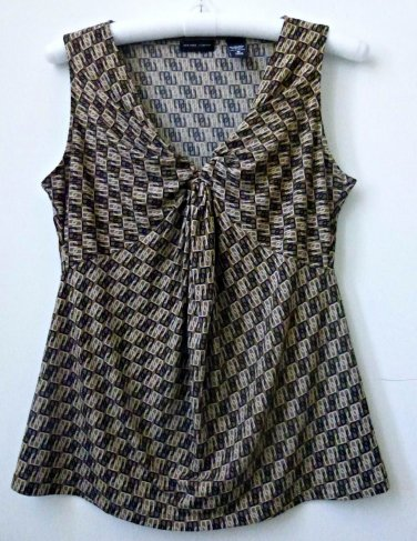 New York&Co. Size M Stretch Women's Casual Sleeveless Top Geometric Multi-Color
