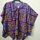 NWT New Directions Size S Butterfly Sleeve Top Asymmetric Hem Front Tie Floral
