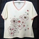 Allison Daley Ivory Size PL Women's Petites Casual Short Sleeve Top Sequins