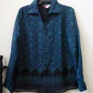JM Collection by Jennifer Moore Size 10 Women's Long Sleeve Sheer Blouse Lined