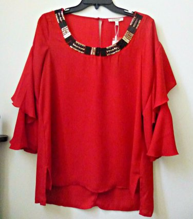 NWT Spense Size S Red Blouse 3/4 Sleeve Hi-Low Scooped Neck Beaded RP 58$