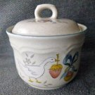 VTG International Stoneware Sugar Bowl W/Lid Marmalade Goose Strawberry Japan