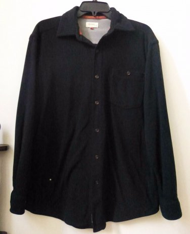 Men's Dockers Size XL Outdoor Solid Black Button Down Shirt Front Pocket
