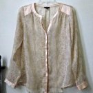 Ann Taylor Petites Size SP Peach Sheer Casual Woman's Blouse Long Sleeve Y-Neck