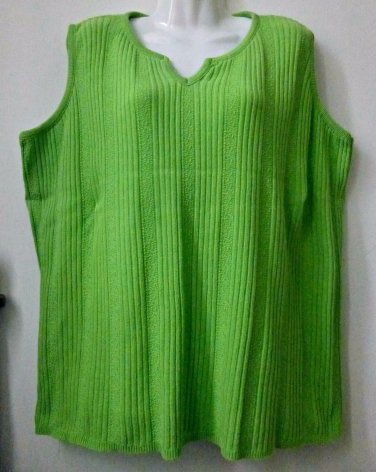 FIORLINI INTERNATIONAL Size 18-20 PLUS Sleeveless Green Tank Stretch 100% Cotton