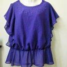 CATO Size M Purple Blouson Top Smocked Hem Scooped Neck Short Angel Sleeve
