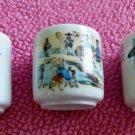 Vintage SET of 3 KOREAN Porcelain White Sake Cups Scenes of