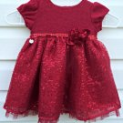 Sweet Heart RoseSize 18 months Girls  Party Dress Red Metallic Short Sleeve