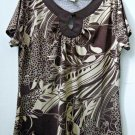Stephanie Rogers by Fashion Trend Size L Short Sleeve Key Hole Top Brown Floral