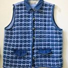 Woman's Casey&Max Size L Blue Basketweave Women's Vest Cotton Faux Pockets