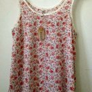 NWT MUDD Size M White Chiffon Sleeveless Tank High-Low Hem Floral Scoop Neck
