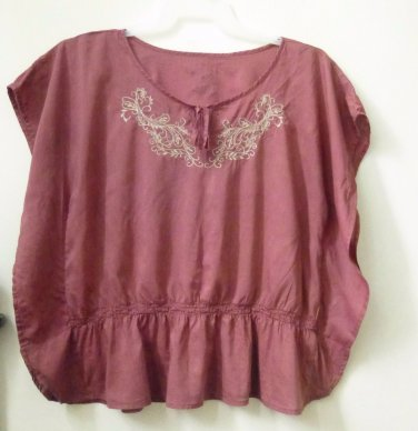 Sonoma Size M Purple Butterfly Sleeve Top Front Tie Embroidered Elastic Waist