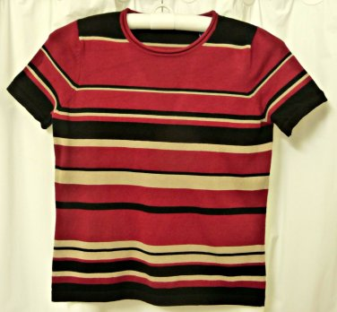 Petites Karen Scott Striped Top*Short Sleeve*Size PS*Rayon/Naylon