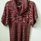 New Directions Size S Turtleneck Dolman Sleeves Broad Elastic Waist Multi-Color