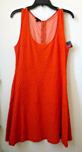 NWT Juniors BONGO Size L Red Sleeveless Party Tea Dress Dress Mesh Back Zipper