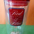 "Wine Tumbler/Glass Insulated ""Red Wine&Blue"" Double Wall No Spill Plastic??"