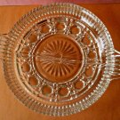 Clear Cut Glass Round Devided Relish Candy Dish W/Handles