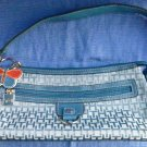 New W/O Tag Turquoise Tommy Filfiger Small Fabric Shoulder Bag Purse TH Pattern