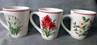 American Atelier SET of 3 Stoneware Coffee Tea Mugs Cups Holiday Floral 5000