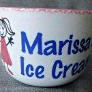 Clay Design Personalized Ice Cream Bowl Marissa's Ice Cream White W/ Pink Trim