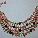 VTG ?? Shell Chip Seed Beads Round Beads 4 Strand Choker Necklace Japan