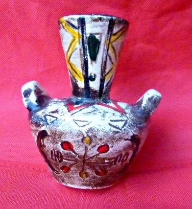 VTG ?? Vase with Handles Ceramic Embellished 5'' Tall