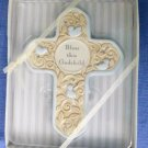 """NWT """"Bless This Godchild"""" Blue&Beige Wall Cross Ceramic Embellished Religious"""
