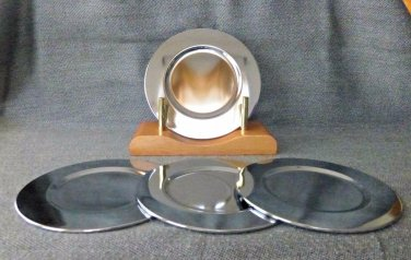 FARBERWARE Home Products 5 Piece Round Steel Coaster Set W/Stand Chrome-Plated