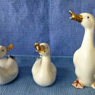 Vintage ST Set of Three Ceramic White Ducks Figurines Golden Accent Original Box