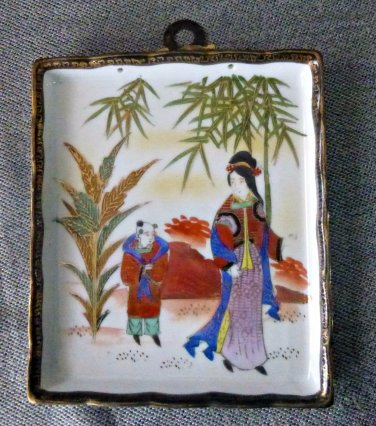 Vintage Andrea S Wall Hanging Plaque Hand Painted Made in Occupied Japan 5''X6''