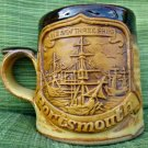 "Portsmouth "" We saw three ships"" Stoneware Coffe/Tea Mug Brown 3.5''X3''"