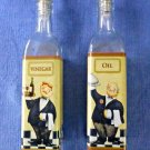 SET of 2 Grant Howard Glass Oil&Vinegar Dispenser/Cruet Waiter Motive 16 OZ