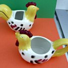 Chestnut Creek Country Roosters Ceramic Creamer and Sugar Bowl Set