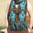 Tapestry Crocheted 100% Wool Robot Scarf | Handmade | Turquoise and Brown, 6in fringe
