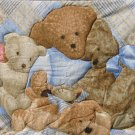 $40.50  Teddy Bear Family Quilt-100% Cotton Fabric-Polyester Fiber Batting-Tan Cotton Flannel
