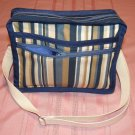 $50  Ladies Shoulder Bag - Blue and Tan Stripes