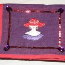 $70  Red Hat Ladies Shoulder Bag-Decorative Front Flap–Red Hat Appliqué Poke-A-Dots On Hat 8X10