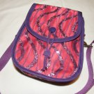 $50  Red Hat Ladies Pouch Shoulder Bag–Red Sateen with Purple Decorative Netting–7 X7X3in