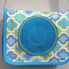 $45 SALE ITEM-One Of A Kind Shoulder Bag-Turquoise Patterned Canvas With Turquoise Circle