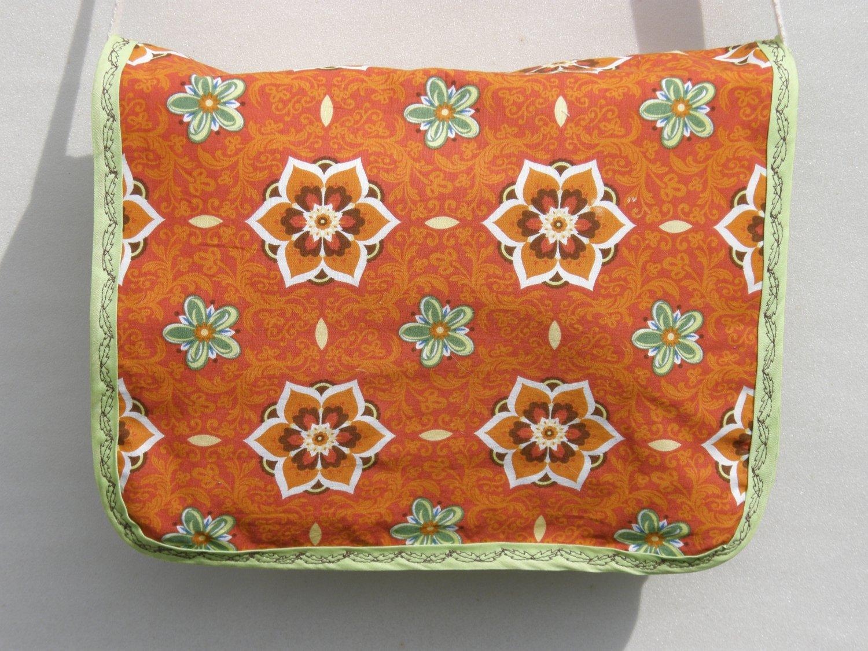 $45 SALE ITEM-8x10 Shoulder-Cross Body Bag-Orange and Spring Green