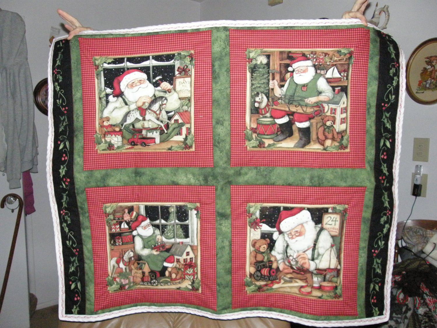 $40.50  Santa Quilt - 35 X 42 Inches - Back is Holly on White Cotton