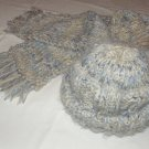 $95.50   Pale Blue and Light Tan Cap and Scarf 100% Wool Yarn (Adult Size)