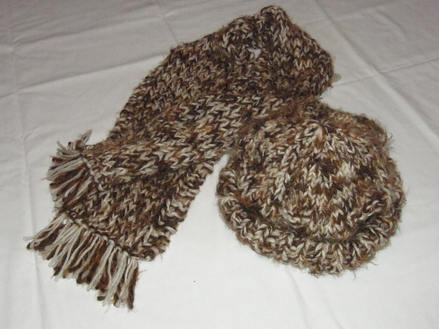 $95.50   Browns and Cream Cap And Scarf 100% Wool Yarn (Adult Size)
