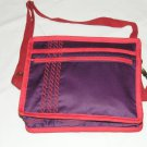 $55 Red Hat Ladies 8X10 Shoulder Bag Purple Sateen Red Accents Red Stylized Rope Top Stitching