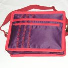 $55 Red Hat Ladies 8X10 Shoulder Bag Purple Sateen Red Accents Red Stylized Flower Top Stitching